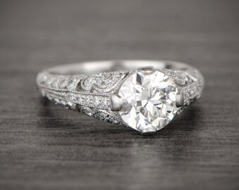 1.66ct Platinum and Diamond Vintage Style Ring