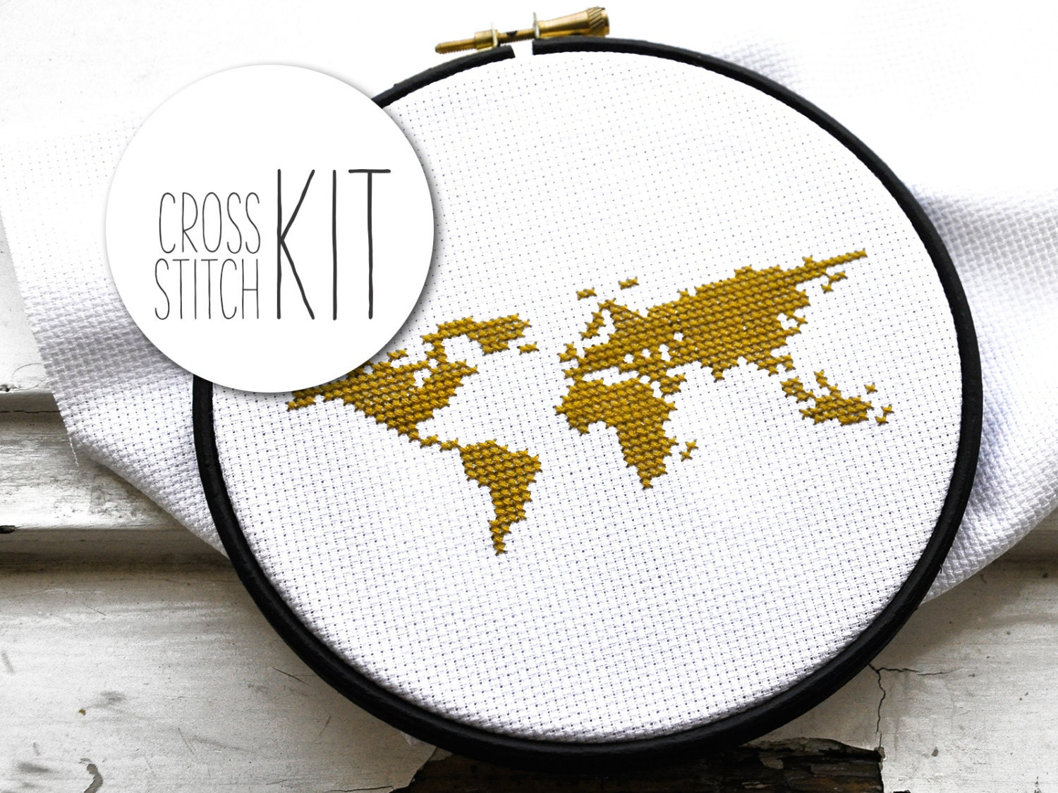 World Map  Easy Cross Stitch Kit For Beginners, Wanderlustplete Craft  Kit With Supplies
