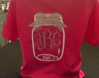 Monogrammed Mason Jar - Mason Jar Shirt - Monogram Shirt - Glitter Shirt - Southern Shirt