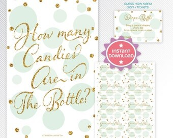 Gold glitter and mint polka dots guess how many card, baby shower game printable - INSTANT DOWNLOAD