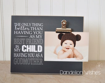 Baptism Gift, Godparent Gift, Gift For Godmother, Custom Photo Frame, Personalized Picture Frame, Godmother Gift, Will You Be My Godmother