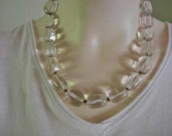 vintage clear glass necklace, 80's clear glass necklace, clear glass necklace, oblong glass necklace, Wilma Flintstone necklace