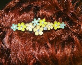 Vintage floral barrette, vintage flower barrette, flower barrette, floral power barrette, flower power barrette, enamel flower barrette