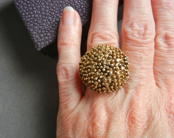 Vintage brass mum ring 5, brass mum flower ring, gold mum flower ring 5, brass chrysanthemum ring, large brass mum ring, large gold mum ring