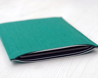 """iPad Mini Padded Cover Case / Samsung Tab S2 8"""" Sleeve in Green and Stripy Black & White Cotton / iPad Mini Protective Case"""