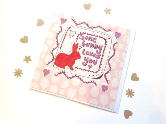 Rabbit Card Romantic Rabbit Card Cute Pun Blank Greetings – Anonymous Valentine Card