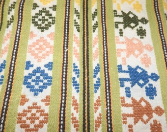 Vintage 60s Peru Table Runner Hand Loomed Pure Cotton Moss Green with Figural and Ancient Designs Rustic Traditional Lovely