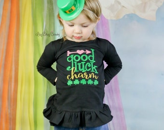 Good luck charm embroidered baby girls arrow clover black shirt
