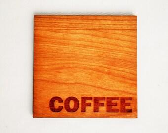 Coffee Coasters - Modern Drinkware - Cherry - Wood Coasters - Set of 4 Coffee Coasters - Housewarming - Hostess Gift - Coffee Lovers