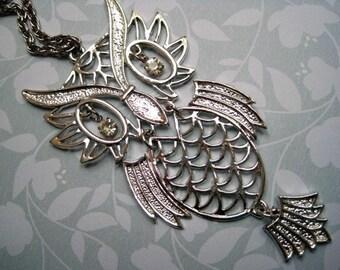 Vintage Articulated Owl Pendant Silver Tone Rhinestone Eyes