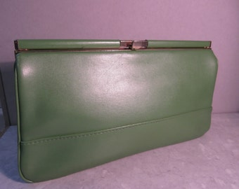 Vintage 1960's Green PVC Clutchbag Made In England By 'Clarks' - Cute!!