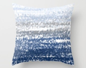 Throw Pillow Cover, Navy Blue White Grey (A23)