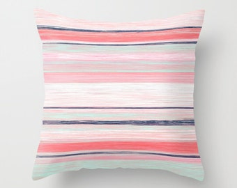 Pillow Cover Throw Pillow Cover Accent Pillow Cover Decorative Pillow Cover Coral Navy Aqua Pillow Cover Cushion cover