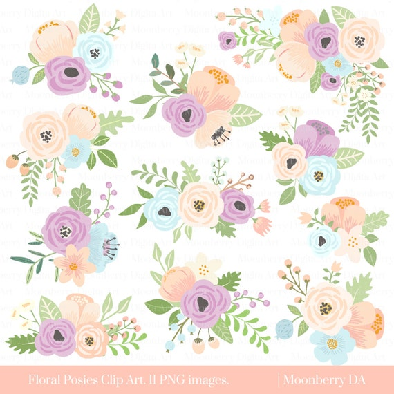 Flower Clipart FLORAL POSIES CLIPART Wedding Floral Bridal Baby Shower Invitation Commercial
