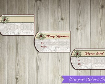 Printable  -  Christmas gift tags - Red and white