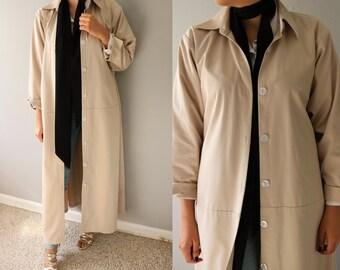 Vintage Spring Coat/Trench Coat/  Long Spring Coat/ Beige coat/ Khaki Coat/Oversized Coat/ Women Coat