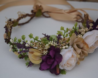 Eggplant, Beige & Blush Flower Crown with Gold Accents - Eggplant Flower Girl Crown - Bridal Halo - Flower Girl Hair Wreath - Photo Prop