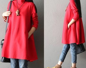 Loose turtleneck zipper Pure cotton long sleeve jumper - Women Clothing
