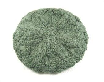 Slouchy green hat, merino toque, sage green hat, hand knit toque, sage green toque, green beret, slouchy beanie, green wool toque, warm hat
