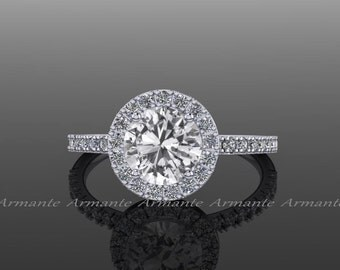 White Sapphire Engagement Ring, 14K White Gold Halo Wedding Ring, Bridal Jewelry RE00073W