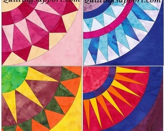 New York Beauty Set 2 Paper Foundation Piecing Quilting 4 Block Patterns PDF