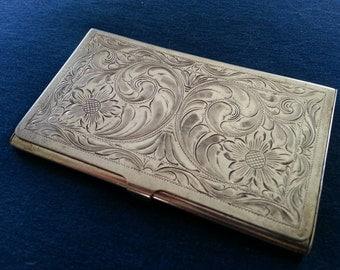 Sterling silver business card case gallery business card template vintage cigarette case mid century alpaca silver metal vintage sterling business card case hand engraved sterling colourmoves