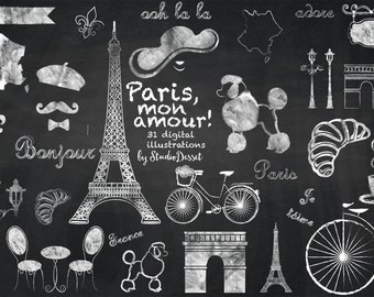 Paris Cliparts Chalkboard, France Clip Art, Eiffel Tower, French Illustration Bicycle, Weddings, Valentine's Day, Love Graphics