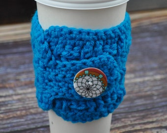 Blue- Coffee Cup Sleeve- Button