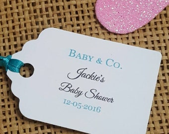 """Personalized Favor Tags 2Lx1w"""" Wedding tags, Thank You tags, Favor tags, Gift tags, Bridal Shower Favor Tags. tiffany baby shower"""