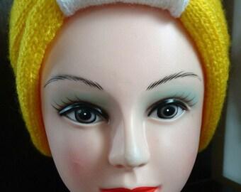 Head Band jaune et blanc au tricot