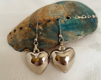 Sterling Silver Hanging Hearts Earrings - EB419