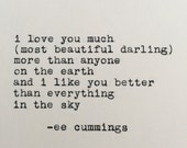 ee cummings love quote typed on typewriter - 4x6 white cardstock
