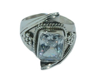 Natural White Zirconica 925 Sterling Silver Victorian Style Ring Jewelry R35