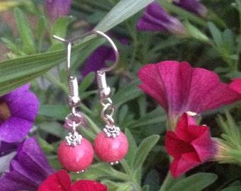Bohemian earrings gorgeous pink coral stone earrings beads silver boho earrings country chic simple elegant bridesmaid dangle drop earrings