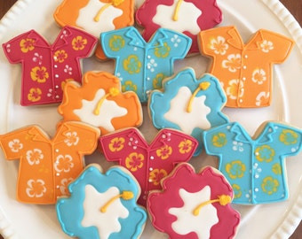 Hawaiian Shirt Cookies | Hibiscus Cookies | Luau Cookies | One Dozen