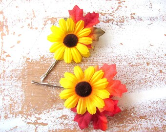 Bridal Hair Clips, Sunflower and Autumn Leaf Bobby Pins, Fall Leaves Wedding Hair Accessory