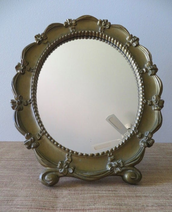 Vintage oval syroco gold mirror vanity dresser mirror bows for Gold stand up mirror