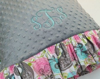 Minky Dot Pillowcase made with Grey Minky with Multi Colored Print Ruffle