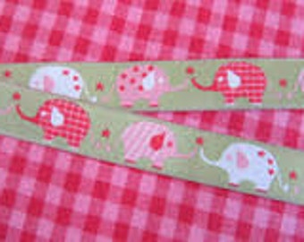 Ribbon 15 mm elephant Parade (green background)