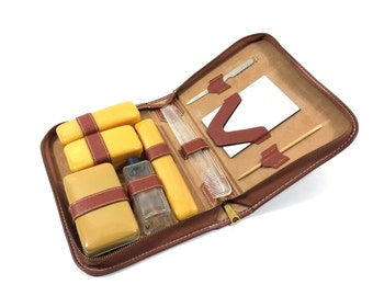 Vintage 10 Piece Men's Grooming & Toiletry Travel Kit by Joda USA