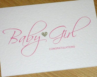 New Baby Boy card or Baby girl card Congratulations card - pink or blue -  beautiful script font - handmade greeting card
