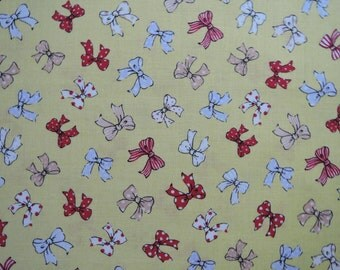 """Fat Quarter of 2016 Lecien Old New 30's Collection Spring Ribbons in Yellow. Approx. 18"""" x 22"""" Made in Japan"""