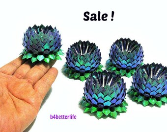Sale! Lot of 5pcs Dark Blue Color Small Origami Lotus. (RS paper series). #FLT-141.