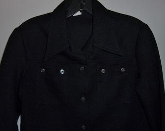 Vintage 1970's Ladies Black Button Down, Jacket Style Blouse