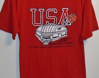 Vontage 1984 World's Largest Basketball Games, Hoosier Dome, Indianapolis Indiana Tshirt