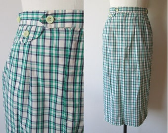60's-70's Asher Madras Plaid Preppy Pencil skirt size small