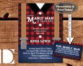 Lumberjack Baby Shower Invitation, Little Man, Suspenders, Black, Red, Plaid, DIY Word Template, BONUS Diaper Raffle Tickets