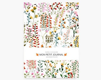 Notebook, journal, diary, flowers pattern, floral, A6, stationery, english pattern, gift, Tagebuch, watercolor, little notebook, cute