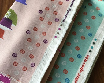 Half Yards of Melody Miller Ruby Star Sparkle Cotton Canvas- Blue and Pink