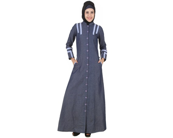 Mybatua Widad Blue Cotton Denim Jilbab Style Long Islamic